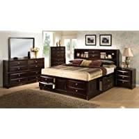 Roundhill Furniture Ankara Wood Bedroom Set, Includes King Bed, Dresser Mirror with 2 Nightstands, Espresso