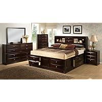 Roundhill Furniture Ankara Wood Bedroom Set, Includes King Bed, Dresser Mirror with 2 Nightstands, Espresso