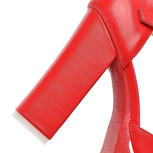 Amoonyfashion Kvinna Sluten Tå Kick-häl Mjukt Material Fast Spänne Sandaler Röda