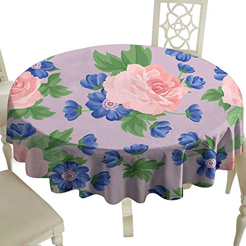 WinfreyDecor Oil-Proof and Leak-Proof Tablecloth Floral Bouquet Seamless Pattern Flower Rose Posy Background Indoor Outdoor Camping Picnic D51