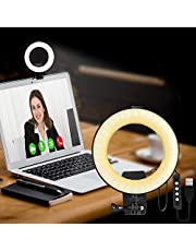 Video Conference Lighting Kit, LED Dimmable Ring Light Adjustable Clip On Monitor for Remote Working, Learning, Gaming, Zoom Call Lighting, Self Broadcasting, Live Streaming, Video Shooting