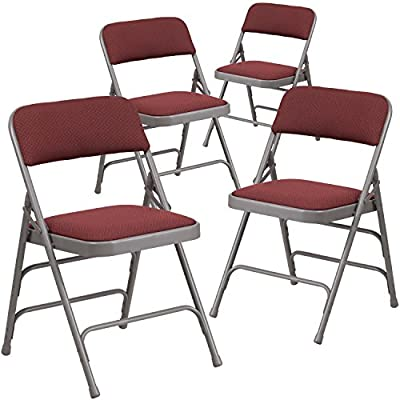 Flash Furniture Hercules Series Curved Triple Braced & Double Folding Chair (4 Pack), Burgundy/Gray