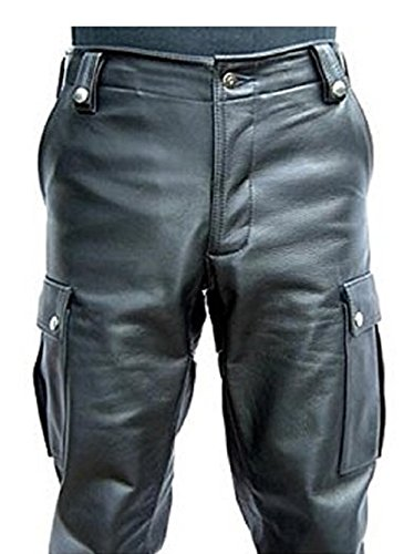 Mens Genuine Leather Casual Cargo Pant SouthBeachLeather (Natural Waist At Belly - 36)
