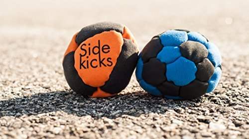 Sidekicks Hacky Sack - Classic Sand Filled Footbag   Best for Dirtbag Practice, Juggling Practice Hand Stitched Synthetic Suede Sand Hacky Sack Dirt Bag (Blue (32 panel))