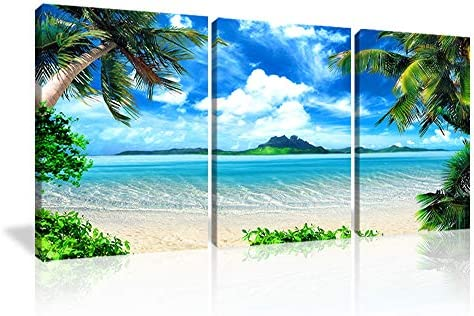 KALAWA Seascape Canvas Prints Landscape Pictures Paintings on Modern Stretched and Framed Canvas Wall Art Sea Beach 3 Panels Pictures Artwork