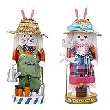 MagiDeal Rabbit Couple Wooden Nutcracker Craft Christmas Ornament Festival Decoration