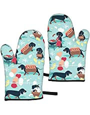 Waldeal Oven Mitt Set of 2, Heat Resistant Oven Gloves up to 356℉, Soft Cotton Lining with Non-Slip Kitchen Gloves for BBQ Cooking Baking Grilling
