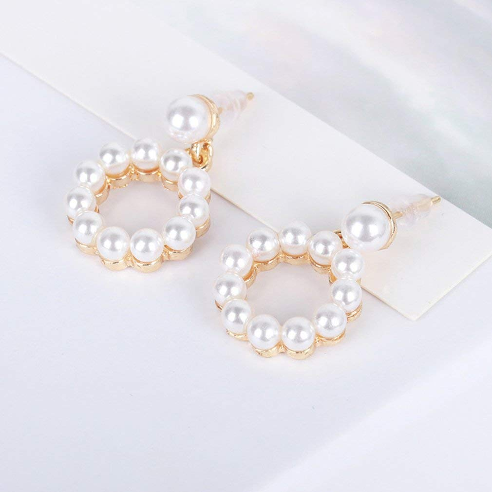 camillia-de Triangle Round Square Stud Earrings Pearl Pendant Earrings Ladies Gift Jewelry