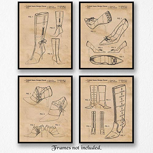 Original Jimmy Choo Shoes and Boots Patent Poster Prints- Set of 4 (Four 8x10) Unframed Photos- Great Wall Art Decor Gifts Under $20 for Office, Studio, Home, Shop, Salon, Student, Designer, Teacher