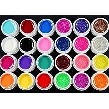 Warm Girl 24 Pcs Mix 12 Pure 12 Glitter Color UV Builder Polish Gel for Nail Art Decoration Tips Set