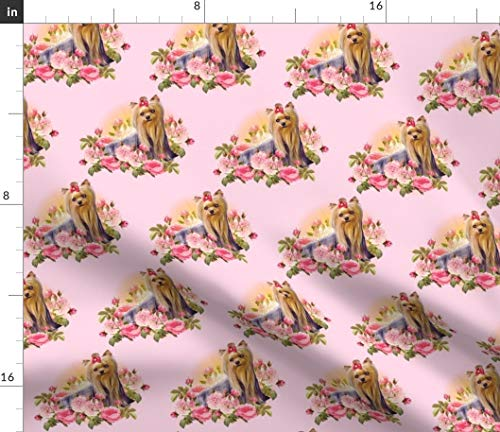 - Rose Pink Yorkies Fabric - Charming Pups Dogs Miniatures Dream Best Friend Pet Trending Pets Love Fun Puppy Print on Fabric by The Yard - Sport Lycra for Swimwear Performance Leggings Apparel Fashion