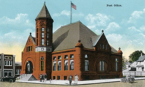 Rockford, Illinois - Exterior View of the Post Office (12x18 Art Print, Wall Decor Travel Poster) Vintage View Post Office
