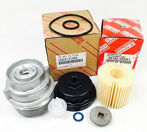 Genuine Toyota 04152-YZZA1 oil filter with Genuine Toyota 15620-31060 Oil Filter Housing Cap and 15643-31050 Cap Plug includes APSG Wrench and crush - 2011 Filter Wrench Camry Oil