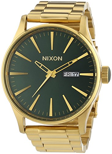 Nixon A356-1919 Mens Sentry SS Gold Green Sunray Watch