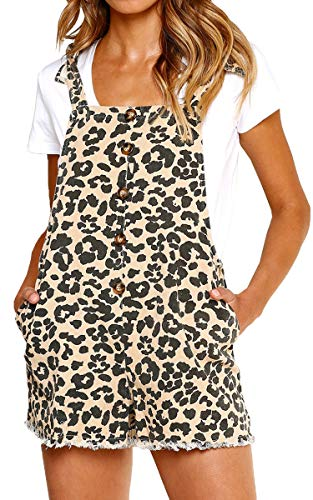 ECOWISH Women Leopard Bib Overalls Sexy Strap Backless Summer Beach Romper Jumpsuit with Pockets Khaki M ()