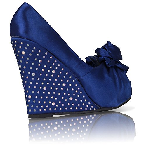WOMENS LADIES SATIN WEDDING PROM BRIDAL EVENING WEDGE GEM SHOES SIZE 3-8 Navy Satin W7huly