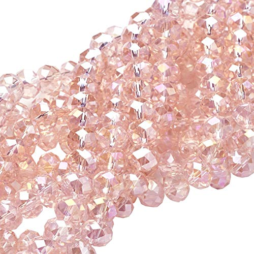 NBEADS 10 Strands of Crystal Glass Beads Wholesale 8mm Pink Faceted Rondelle Beads Jewelry Making Supply for DIY Beading Projects, Bracelets, Necklaces, Earrings or Other Jewelries