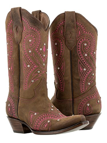 Texas Legacy Women's Karla Brown & Pink Rhinestone Stitched Leather Cowgirl Boots Snip Toe 6.5 BM