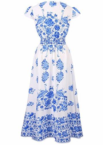 Dress Up Waist Floral Cap High blue Print Neck V Summer Beach Women's Sleeve Vintage Dress Cover 1PHqFw56