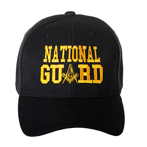 United States National Guard Masonic Square and Compass Embroidered Black Baseball Cap