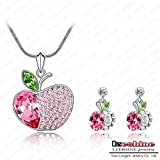 Prime Leader New Korean Style Apple Shaped Jewelry Set Austrian Crystal Necklace Pendant/Earring Set Charm Jewelry St-Hqs0050