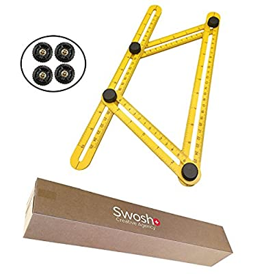 Angle-izer Tool: Measures All Angles and Forms, Professional Layouts, Time Saver, Easy To Use, Template, Multifunctional Measuring Ruler, Use On All Surfaces, Includes x4 Metal Screws
