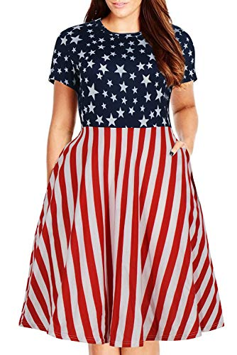 Nemidor Women's Round Neck Summer Casual Plus Size Fit and Flare Midi Dress with Pocket (26W, Stars+Stripes)