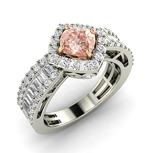 Tw Pink Cushion Cut Ring - TrioStar D/VVS1 Cushion-Cut Simulated Pink Tourmaline CZ Ladies Halo Engagement Ring 1.75 CT Tw