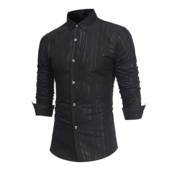 Bestow Camisa de Vestir de Manga Larga sin Mangas con Formal y Estampado Oto?al Informal de los Hombres: Amazon.es: Ropa y accesorios