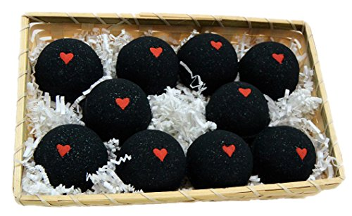 Basket of Bombs! 10 pcs. Black Bath Bombs 5.7 oz w/Hearts...