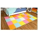 Menu Life Soft Play Mats for Kids Multi-Color EVA Foam Mats Flooring Jiasaw Puzzle Playmat (20pcs, Pink & Green Blue & Orange & White & Yellow)