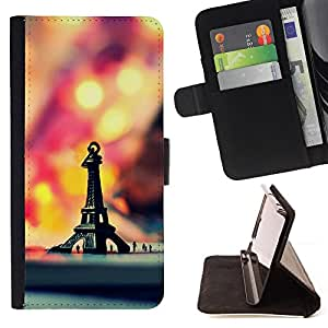 BullDog Case - FOR/Samsung Galaxy S4 IV I9500 / - / Macro Hipster Retro Eiffel Tower /- Monedero de cuero de la PU Llevar cubierta de la caja con el ID Credit Card Slots Flip funda de cuer