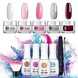 Nail Dipping Powder Kit Frence Acrylic Nail Dip Powder Colors 5Pcs Nail Kit No Uv/Led Lamp Needed Nail Manicure For Starter