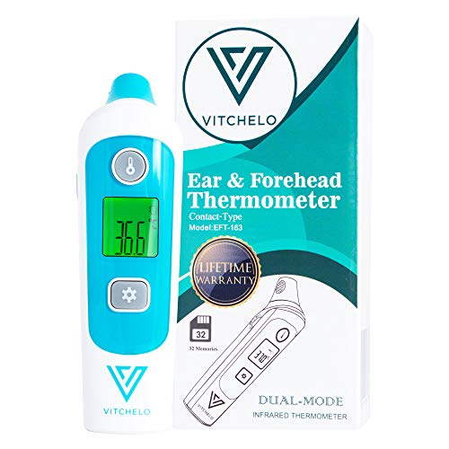 VITCHELO Digital Forehead Ear Thermometer for Accurate Newborn Baby Kids Adults Fever Tracking - FDA Approved Medical Grade Infrared Termometro with Color-Coded Display for Body Temperature Reading