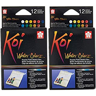 Sakura XNCW-12H, 12 Assorted Watercolors Field Sketch Set with Brush 2 Pack