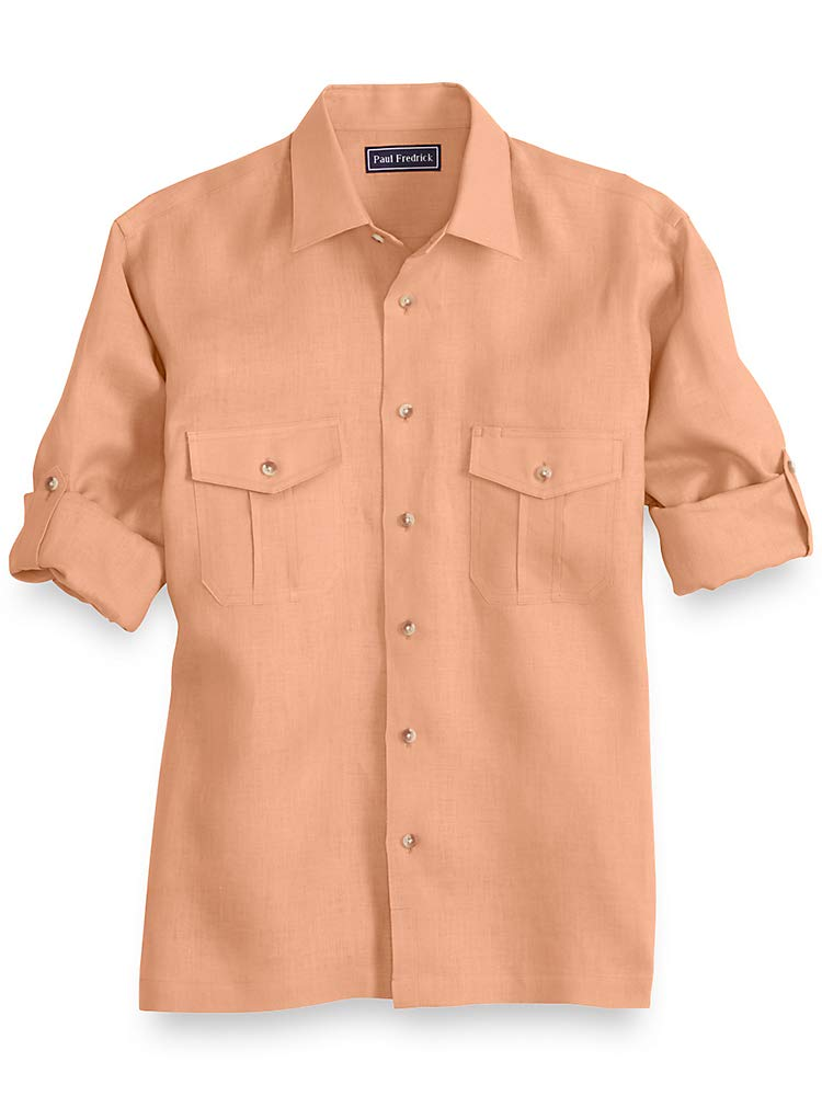 Paul Fredrick Men's Linen Casual Shirt Melon XL Tall