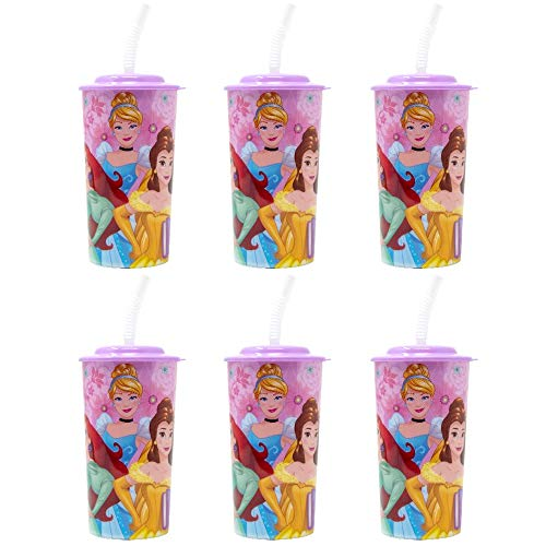 6-Pack Disney Princess 16oz Reusable Sports Tumbler Drink Cups with Lids & Straws, Pink