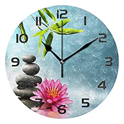 Dozili Zen Stone Orchid Flower Bamboo Decorative Wooden Round Wall Clock Arabic Numerals Design Non Ticking Wall Clock Large for Bedrooms, Living Room, Bathroom