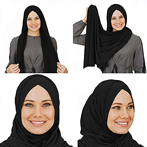 65ac6b5afdc62 Amazon.com: Cotton head scarf, instant black hijab, ready to wear muslim  accessories for women (Black): Clothing