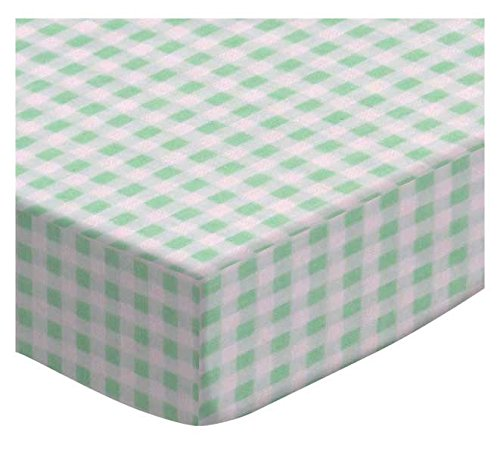 SheetWorld Fitted Cradle Sheet - Pastel Green Gingham Woven - Made In USA