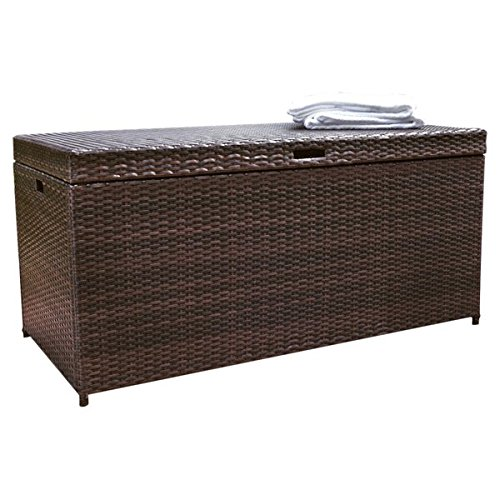 JaxTerrific Elegant 100 Gallon Wicker Rattan Deck Box, Sturdy Steel Frame Construction, Plastic Lid Deck, Supports for Smooth Closing, Ample Storage Space, Weather and Fade Resistant, Brown Finish