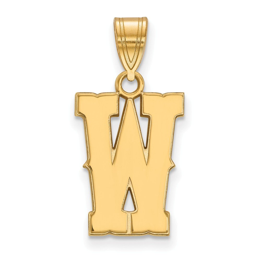 12mm x 24mm Jewel Tie 925 Sterling Silver with Gold-Toned The University of Wyoming Medium Pendant