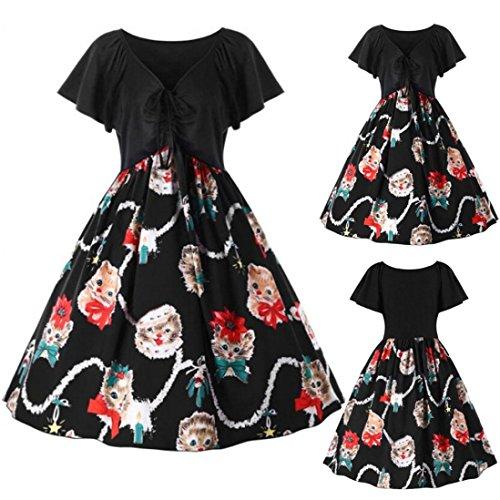 ... Rockabilly Kleid, Longra Damen Elegant Cocktailkleider Kurzarm  Katzekleid Vintage Retro Hausfrau Swing Festliches Partykleider Damen ... 3288f621f5
