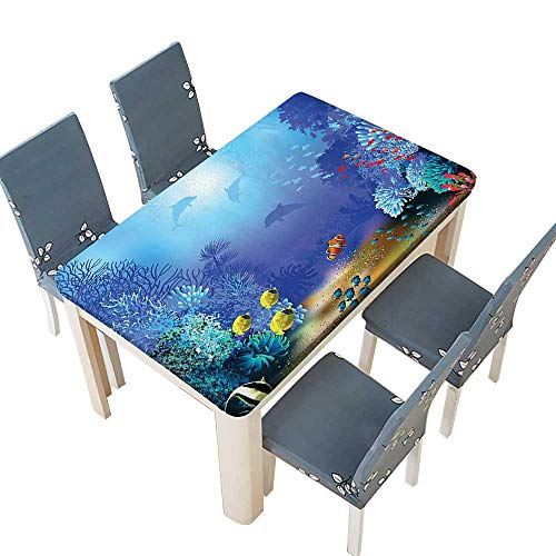 Indoor/Outdoor Polyester Tablecloth Decor Underwater Coral Reef Polyps Algae Dolphins and Goldfishes Bubbles Deep Print Blue Wedding Restaurant Party Decoration W61 x L100 INCH (Elastic Edge) (Star Coral Polyp)