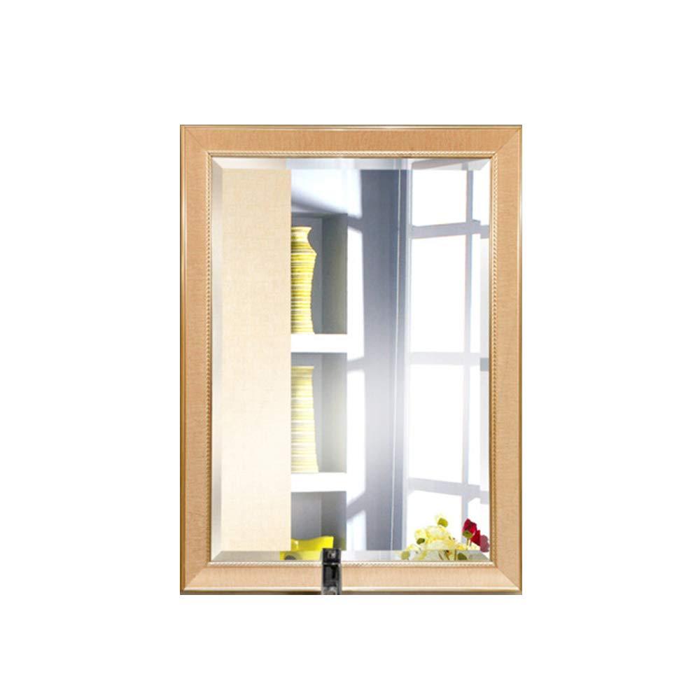 50cm70cm Mirror Square Living Room Bathroom Wall-Mounted Mirror HD Makeup Mirror Retro Wooden Frame Stereoscope Dressing Mirror 45cm60cm, 50cm70cm, 60cm80cm