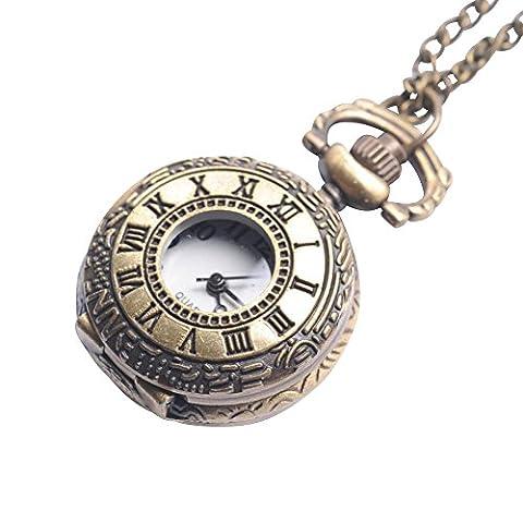 81stgeneration Women's Brass Vintage Style Roman Numerical Pocket Watch Chain Pendant Necklace, 78 (Vintage Style Pocket Watch)