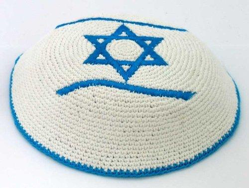 Kippah with Flag of Israel (Star of David on Top)