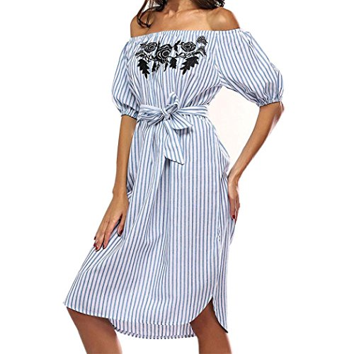 TOTOD Women Off Shoulder Sashes Dress Straight Short Sleeve Casual Slash Neck Striped Casual Dress (S, Blue) (Layered Neck Bubble Dress)