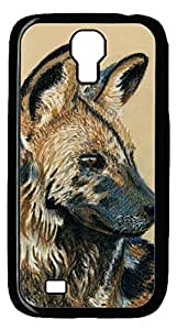 Brian114 Samsung Galaxy S4 Case, S4 Case - Cool Black Back Hard Case for Samsung Galaxy S4 I9500 African Wild Dog Design Hard Snap-On Cover for Samsung Galaxy S4 I9500