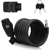 Candado para bicicleta de 180 cm/12 mm, cable antirrobo con 3 llaves y cable de metal, resistente combinación con…